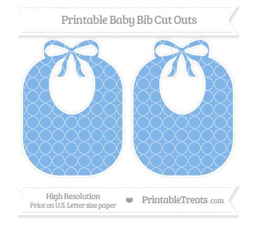 Free Pastel Blue Quatrefoil Pattern Large Baby Bib Cut Outs