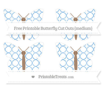 Free Pastel Blue Quatrefoil Pattern Medium Butterfly Cut Outs