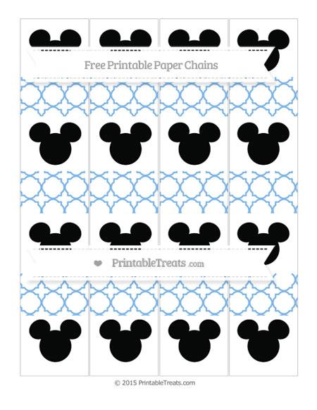 Free Pastel Blue Quatrefoil Pattern Mickey Mouse Paper Chains