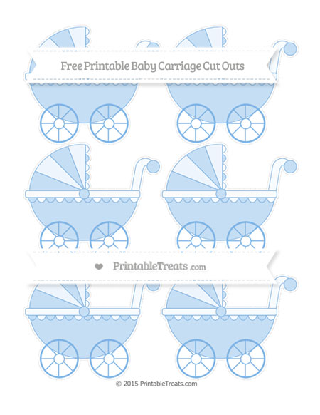 Free Pastel Blue Small Baby Carriage Cut Outs