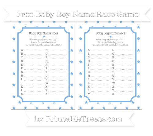Free Pastel Blue Star Pattern Baby Boy Name Race Game