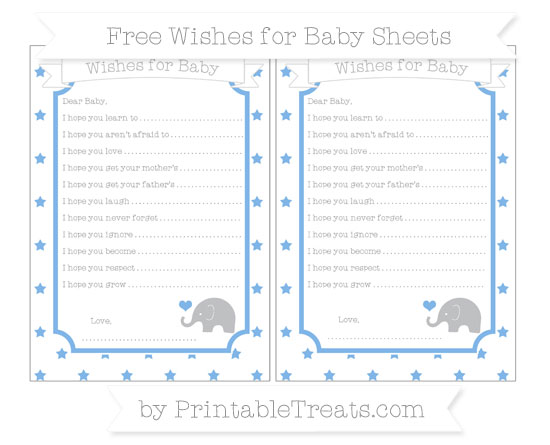 Free Pastel Blue Star Pattern Baby Elephant Wishes for Baby Sheets