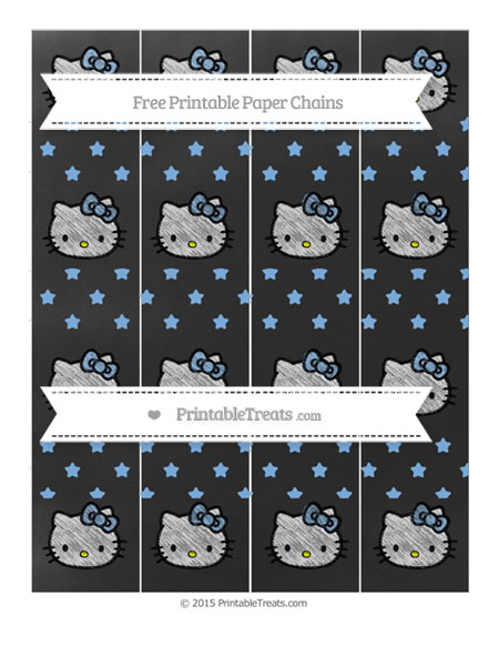 Free Pastel Blue Star Pattern Chalk Style Hello Kitty Paper Chains