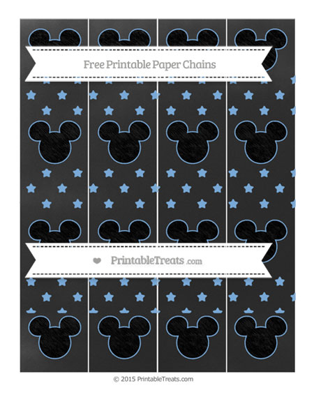 Free Pastel Blue Star Pattern Chalk Style Mickey Mouse Paper Chains