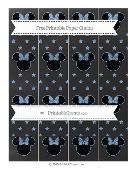 Free Pastel Blue Star Pattern Chalk Style Minnie Mouse Paper Chains