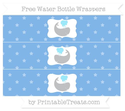 Free Pastel Blue Star Pattern Whale Water Bottle Wrappers