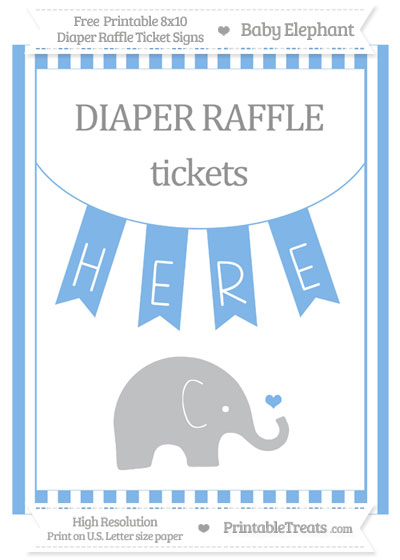 Free Pastel Blue Striped Baby Elephant 8x10 Diaper Raffle Ticket Sign
