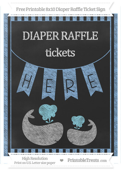 Free Pastel Blue Striped Chalk Style Baby Whale 8x10 Diaper Raffle Ticket Sign