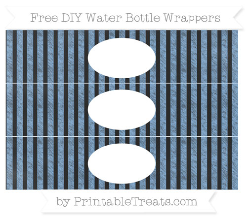 Free Pastel Blue Striped Chalk Style DIY Water Bottle Wrappers