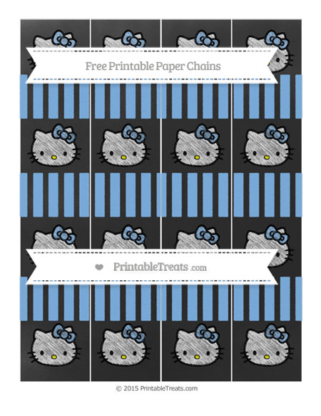 Free Pastel Blue Striped Chalk Style Hello Kitty Paper Chains