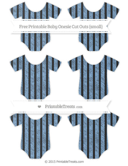 Free Pastel Blue Striped Chalk Style Small Baby Onesie Cut Outs
