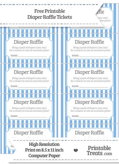 Free Pastel Blue Striped Diaper Raffle Tickets
