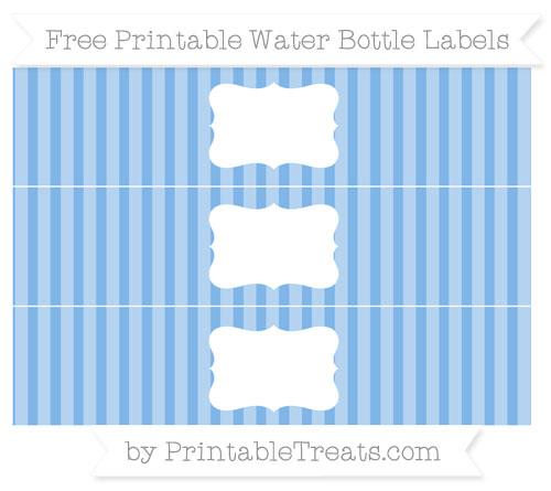 Free Pastel Blue Striped Water Bottle Labels