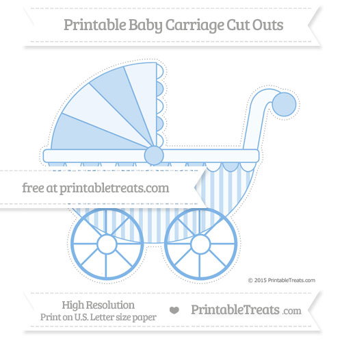 Free Pastel Blue Striped Extra Large Baby Carriage Cut Outs