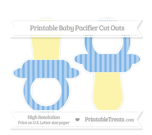 Free Pastel Blue Striped Large Baby Pacifier Cut Outs