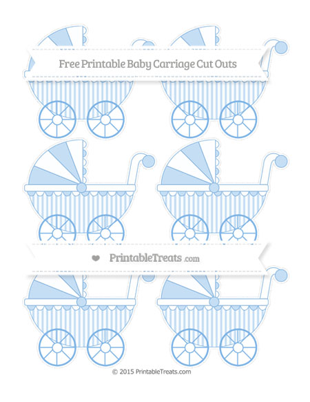 Free Pastel Blue Striped Small Baby Carriage Cut Outs
