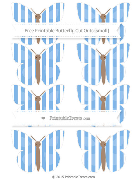 Free Pastel Blue Striped Small Butterfly Cut Outs