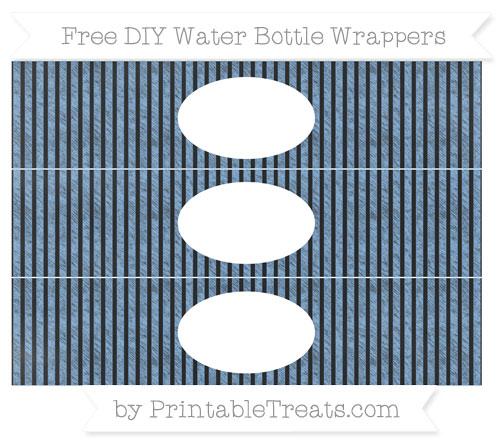 Free Pastel Blue Thin Striped Pattern Chalk Style DIY Water Bottle Wrappers