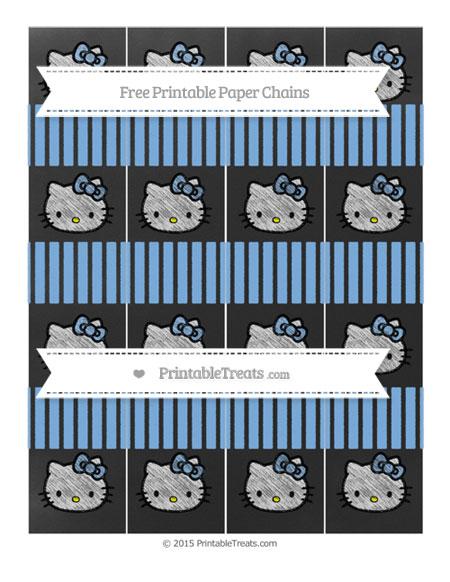 Free Pastel Blue Thin Striped Pattern Chalk Style Hello Kitty Paper Chains