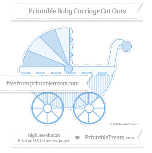Free Pastel Blue Thin Striped Pattern Extra Large Baby Carriage Cut Outs