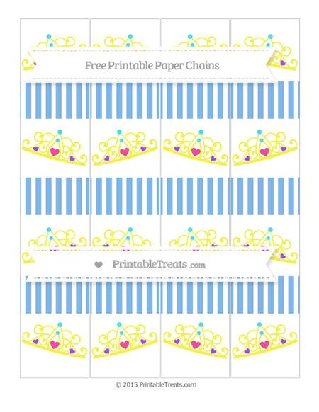 Free Pastel Blue Thin Striped Pattern Princess Tiara Paper Chains