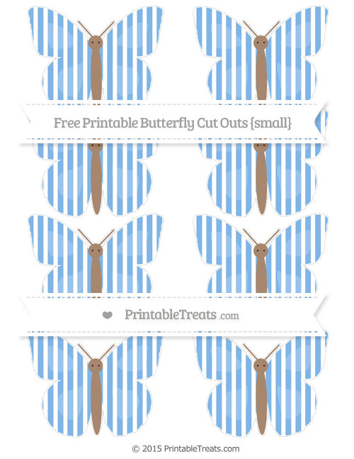 Free Pastel Blue Thin Striped Pattern Small Butterfly Cut Outs