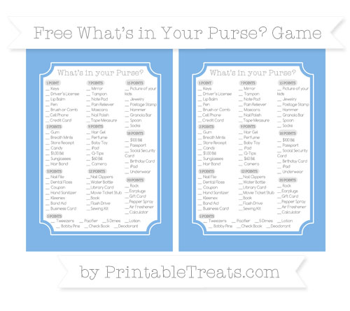 Free Pastel Blue What's in Your Purse Baby Shower Game