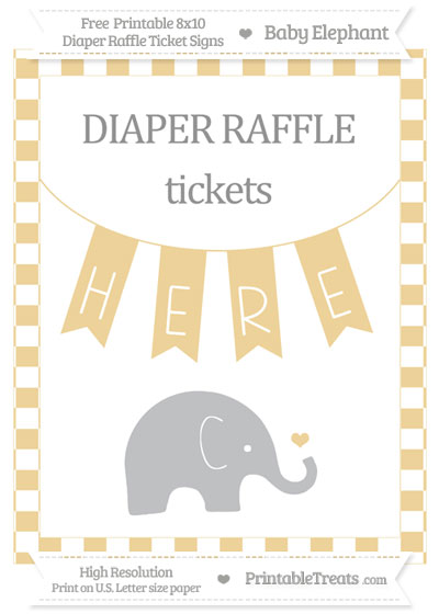 Free Pastel Bright Orange Checker Pattern Baby Elephant 8x10 Diaper Raffle Ticket Sign
