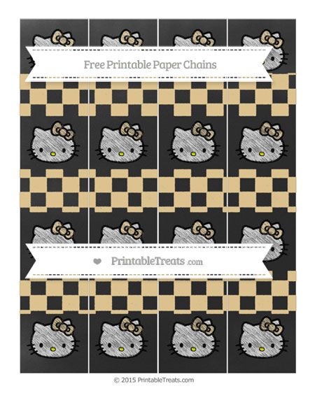 Free Pastel Bright Orange Checker Pattern Chalk Style Hello Kitty Paper Chains