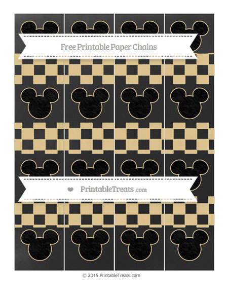 Free Pastel Bright Orange Checker Pattern Chalk Style Mickey Mouse Paper Chains