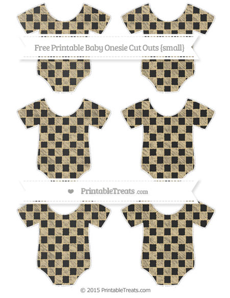 Free Pastel Bright Orange Checker Pattern Chalk Style Small Baby Onesie Cut Outs