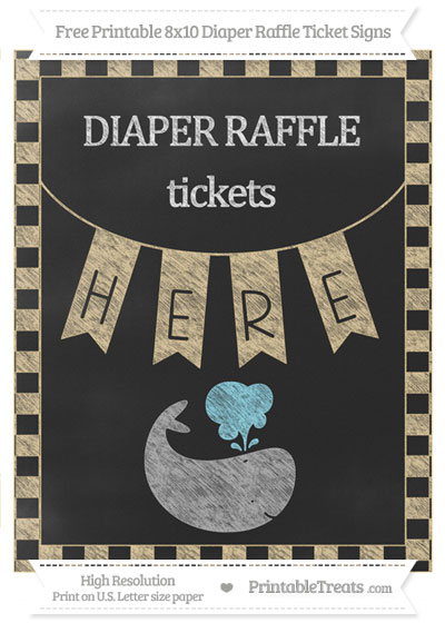 Free Pastel Bright Orange Checker Pattern Chalk Style Whale 8x10 Diaper Raffle Ticket Sign
