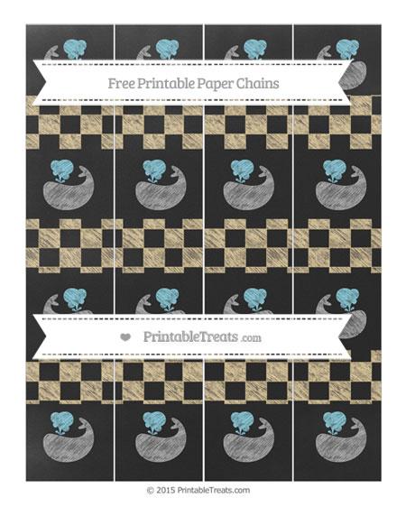 Free Pastel Bright Orange Checker Pattern Chalk Style Whale Paper Chains