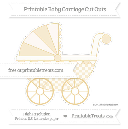 Free Pastel Bright Orange Checker Pattern Extra Large Baby Carriage Cut Outs