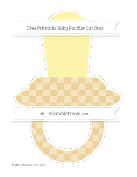 Free Pastel Bright Orange Checker Pattern Extra Large Baby Pacifier Cut Outs