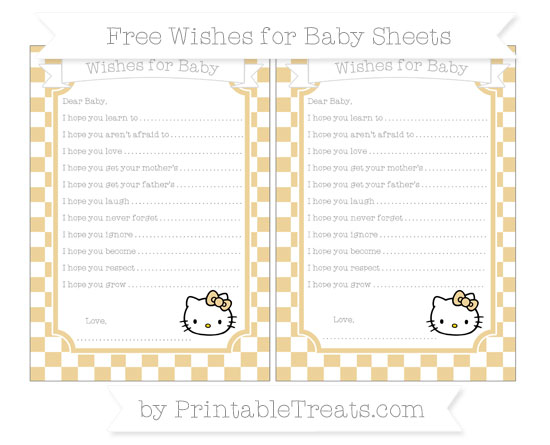 Free Pastel Bright Orange Checker Pattern Hello Kitty Wishes for Baby Sheets