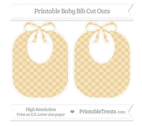 Free Pastel Bright Orange Checker Pattern Large Baby Bib Cut Outs