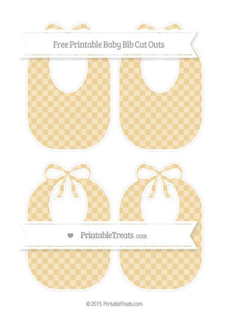 Free Pastel Bright Orange Checker Pattern Medium Baby Bib Cut Outs