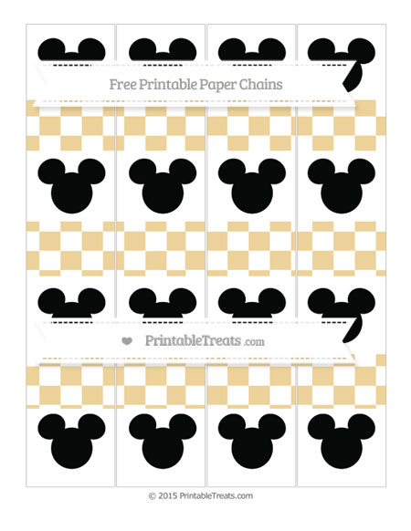 Free Pastel Bright Orange Checker Pattern Mickey Mouse Paper Chains