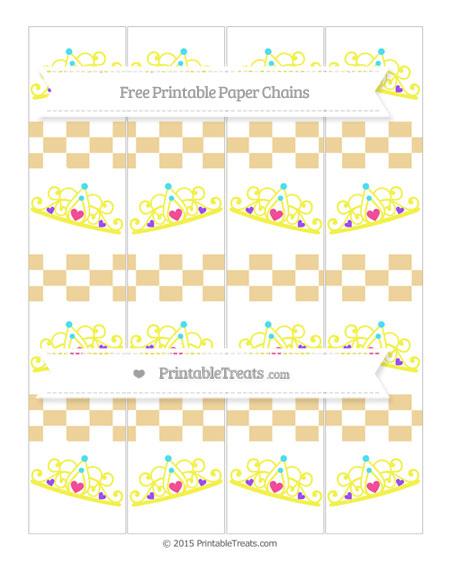 Free Pastel Bright Orange Checker Pattern Princess Tiara Paper Chains
