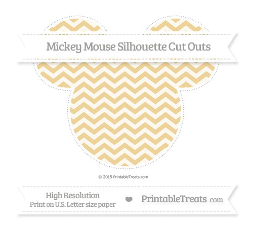 Free Pastel Bright Orange Chevron Extra Large Mickey Mouse Silhouette Cut Outs