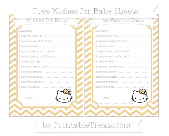 Free Pastel Bright Orange Chevron Hello Kitty Wishes for Baby Sheets