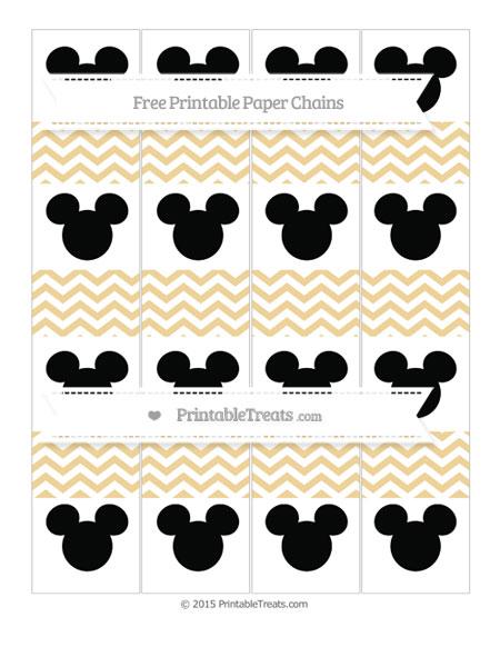 Free Pastel Bright Orange Chevron Mickey Mouse Paper Chains