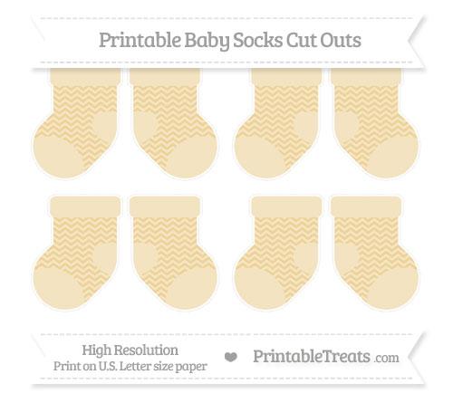 Free Pastel Bright Orange Chevron Small Baby Socks Cut Outs