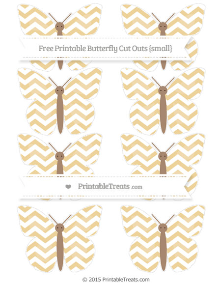Free Pastel Bright Orange Chevron Small Butterfly Cut Outs