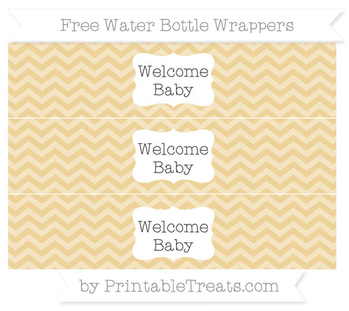 Free Pastel Bright Orange Chevron Welcome Baby Water Bottle Wrappers