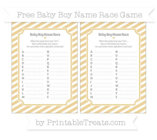 Free Pastel Bright Orange Diagonal Striped Baby Boy Name Race Game