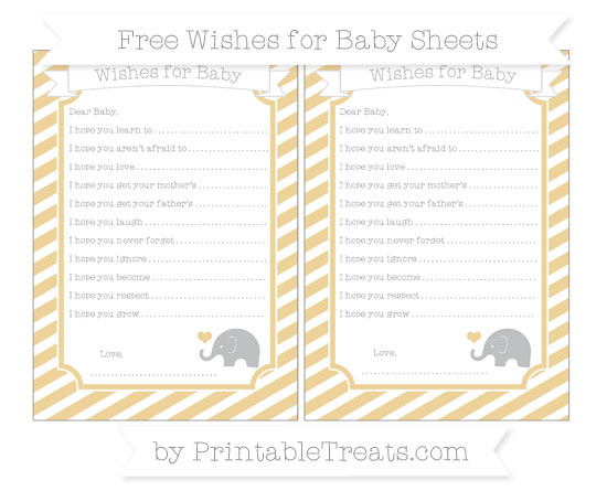 Free Pastel Bright Orange Diagonal Striped Baby Elephant Wishes for Baby Sheets