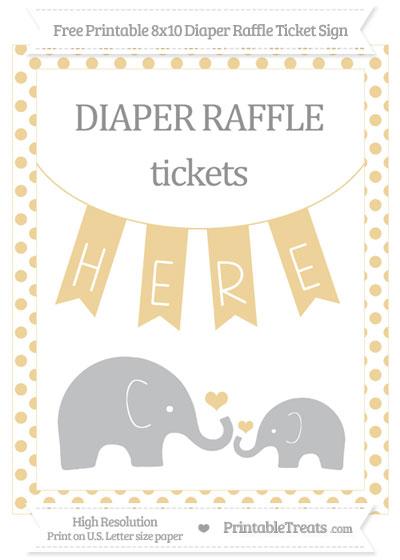 Free Pastel Bright Orange Dotted Elephant 8x10 Diaper Raffle Ticket Sign