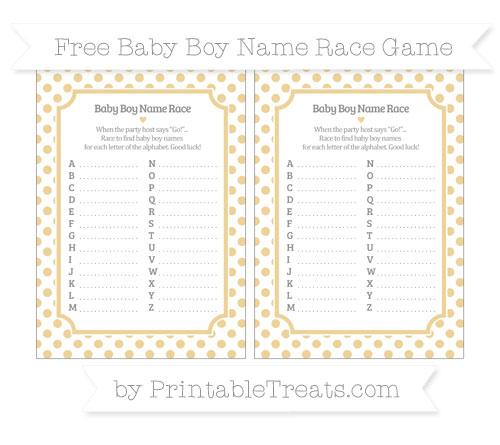 Free Pastel Bright Orange Dotted Pattern Baby Boy Name Race Game